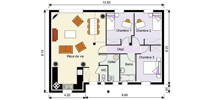 plan maison combles am nageables maison avec suite. Black Bedroom Furniture Sets. Home Design Ideas